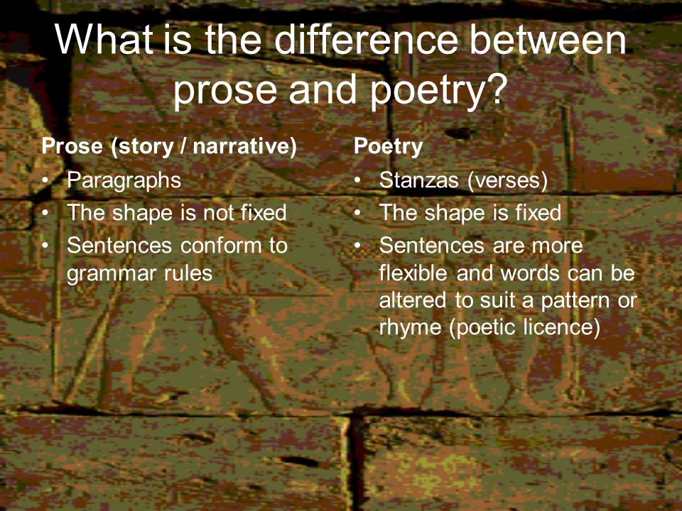 What is the difference between prose and poetry