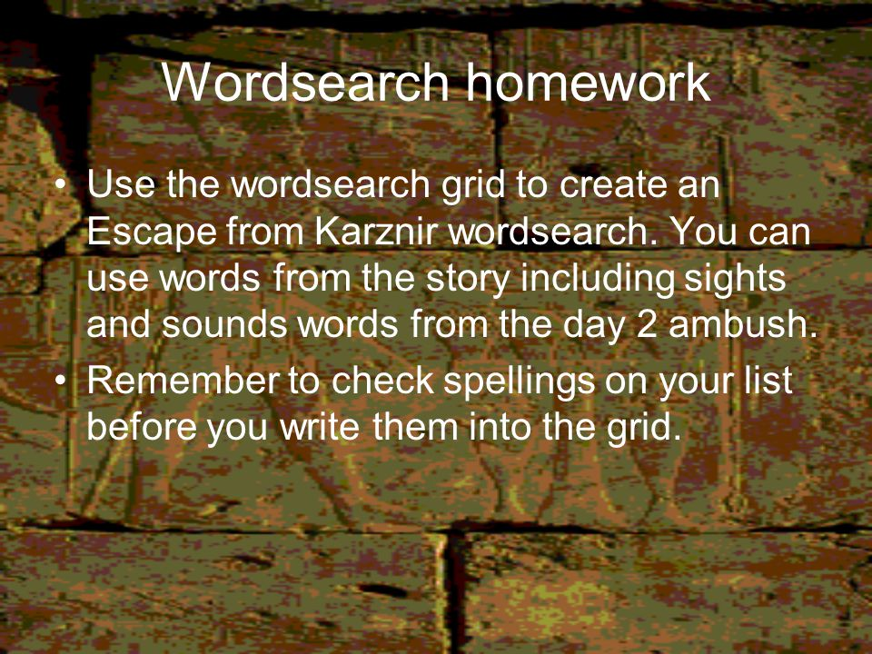 Wordsearch homework