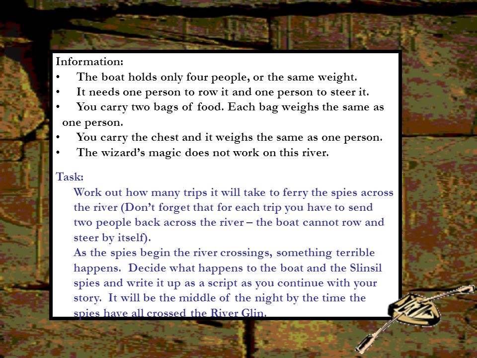 Information: The boat holds only four people, or the same weight. It needs one person to row it and one person to steer it.