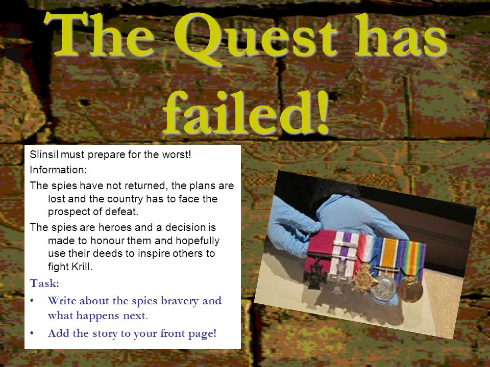 The Quest has failed! Task: