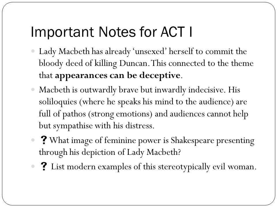 Important Notes for ACT I