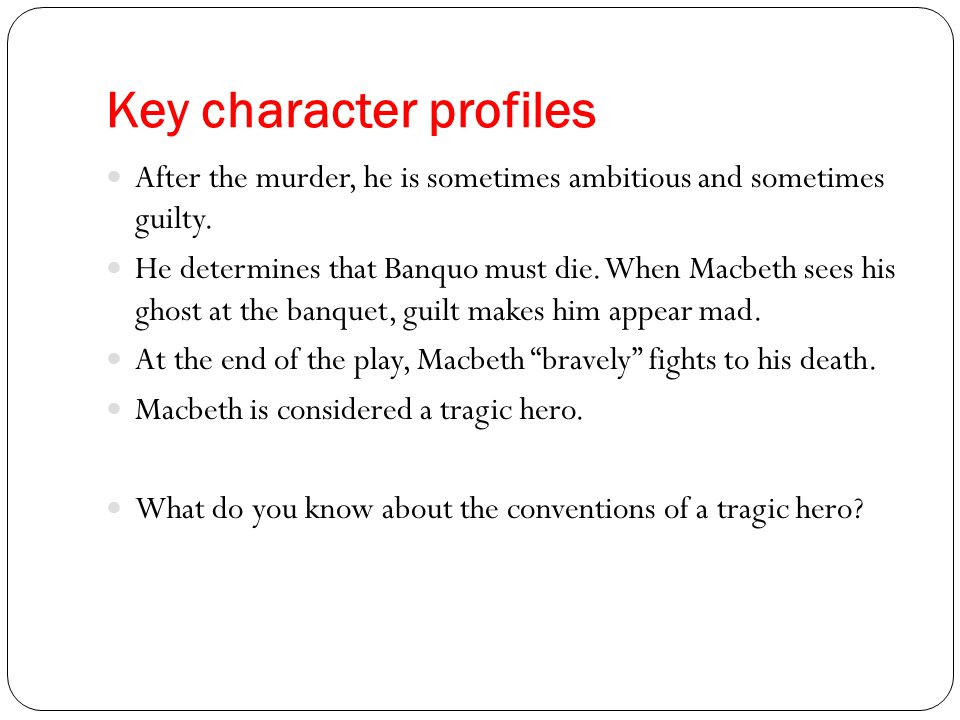 Key character profiles