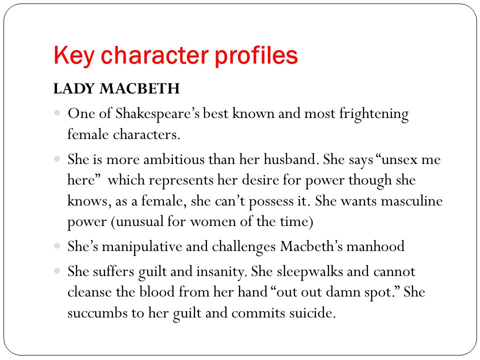 a character analysis of lady macbeth in macbeth Lady macbeth from shakespeare macbeth character introduction metaphors in macbeth soliloquy analysis: if it were done when 'tis done (171-29.