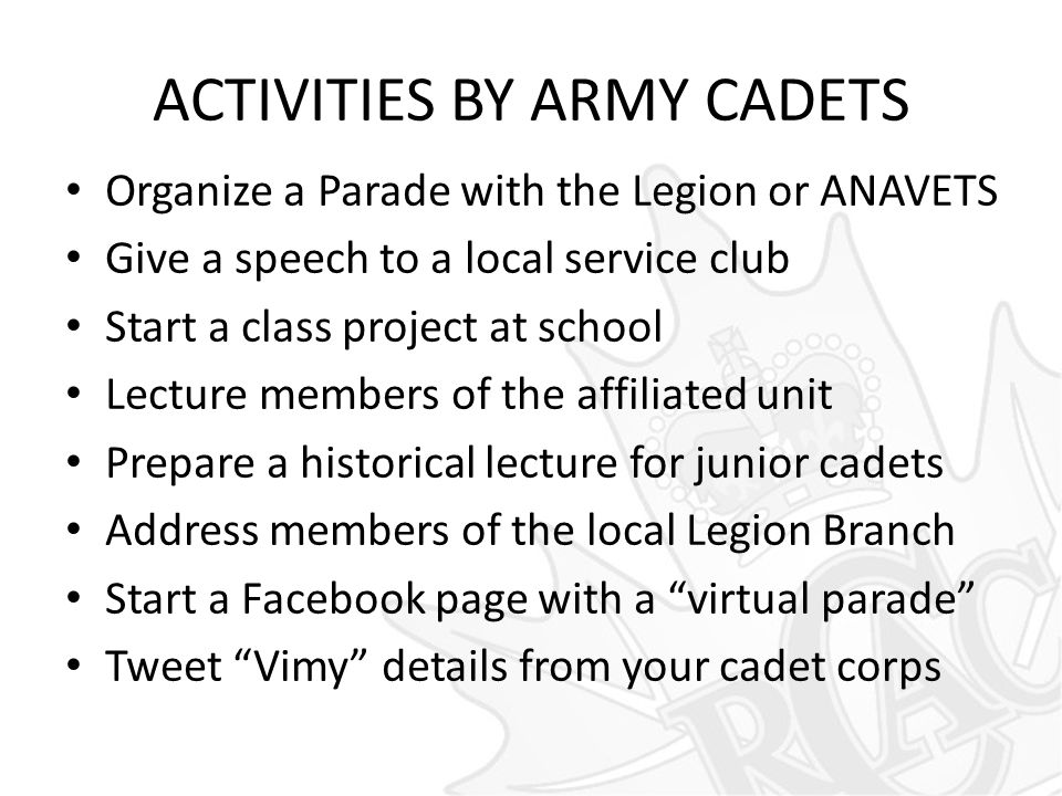 ACTIVITIES BY ARMY CADETS