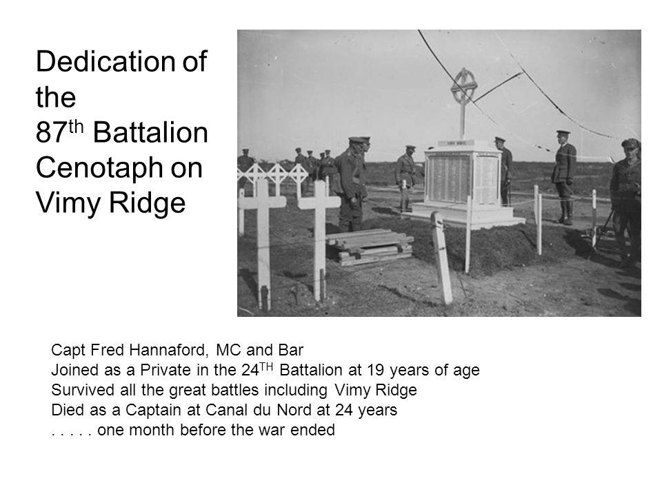 87th Battalion Cenotaph on Vimy Ridge