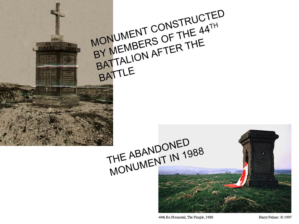 MONUMENT CONSTRUCTED BY MEMBERS OF THE 44TH BATTALION AFTER THE BATTLE