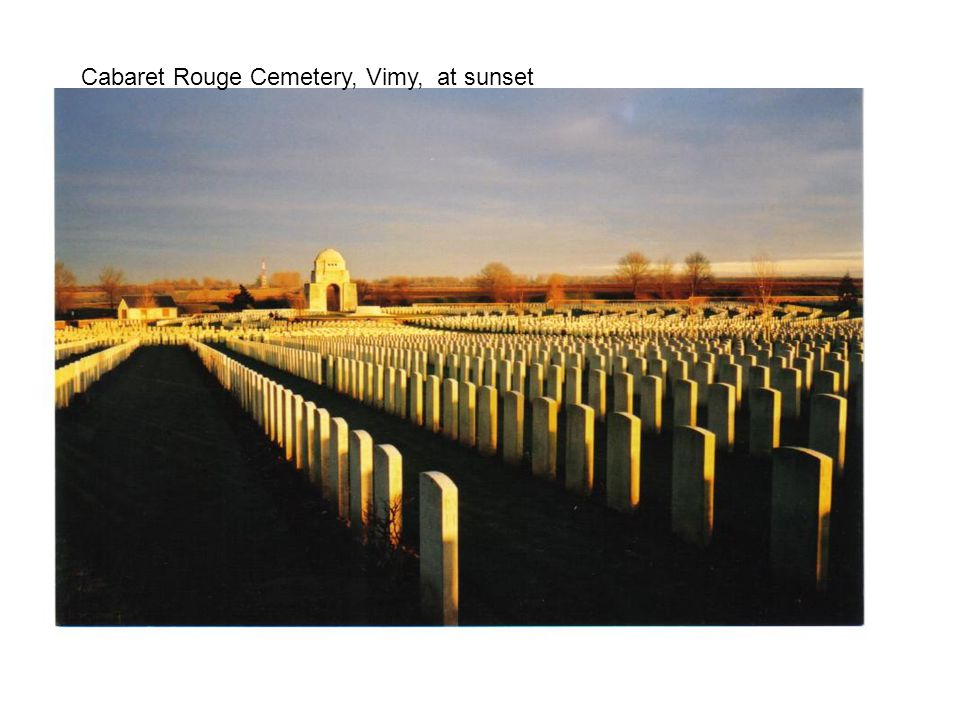 Cabaret Rouge Cemetery, Vimy, at sunset