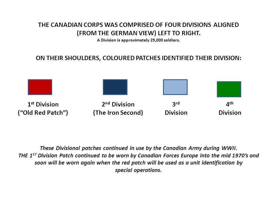 THE CANADIAN CORPS WAS COMPRISED OF FOUR DIVISIONS ALIGNED