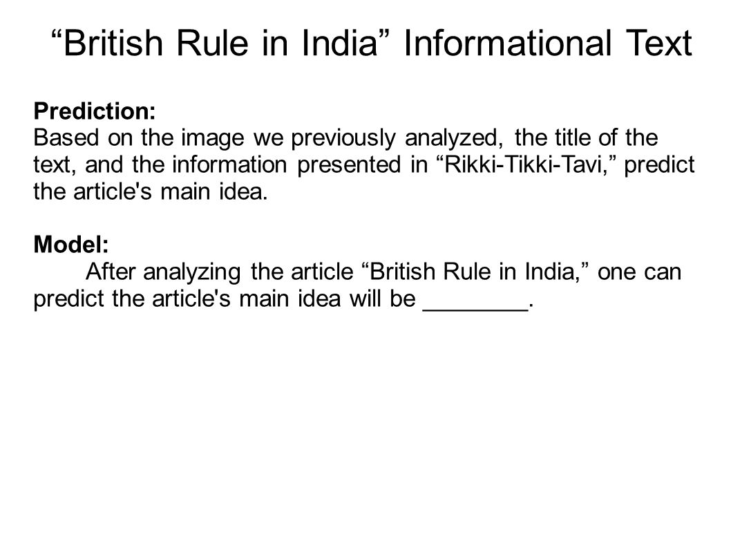 British Rule in India Informational Text