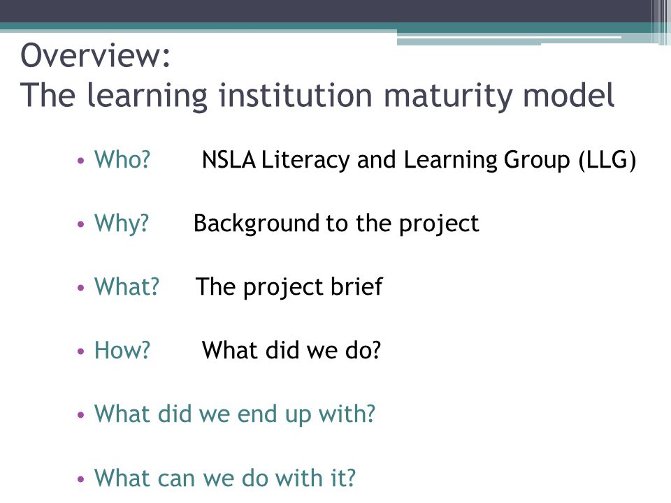 Overview: The learning institution maturity model