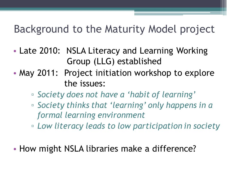Background to the Maturity Model project