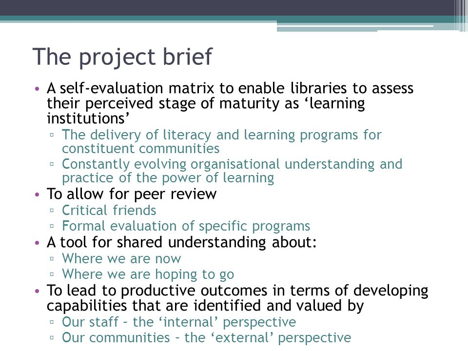 The project brief A self-evaluation matrix to enable libraries to assess their perceived stage of maturity as 'learning institutions'