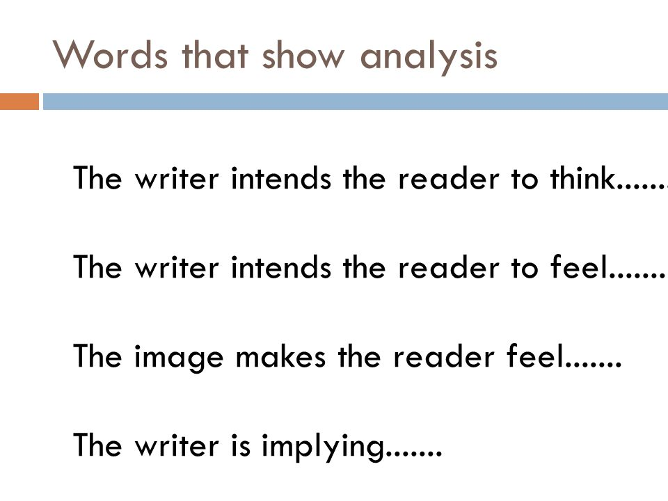 Words that show analysis