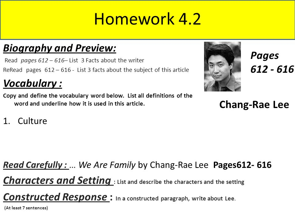 Homework 4.2 Biography and Preview: Pages 612 - 616 Vocabulary :