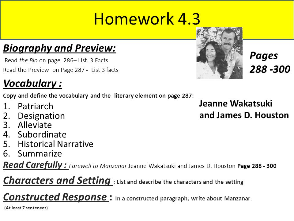 Homework 4.3 Biography and Preview: Pages 288 -300 Vocabulary :