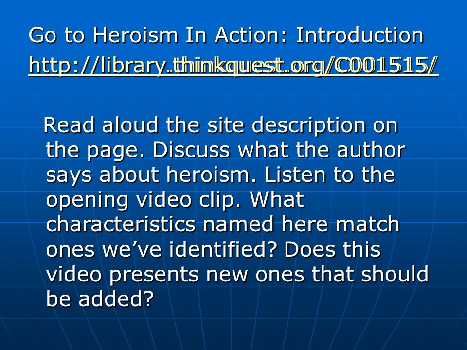 Go to Heroism In Action: Introduction
