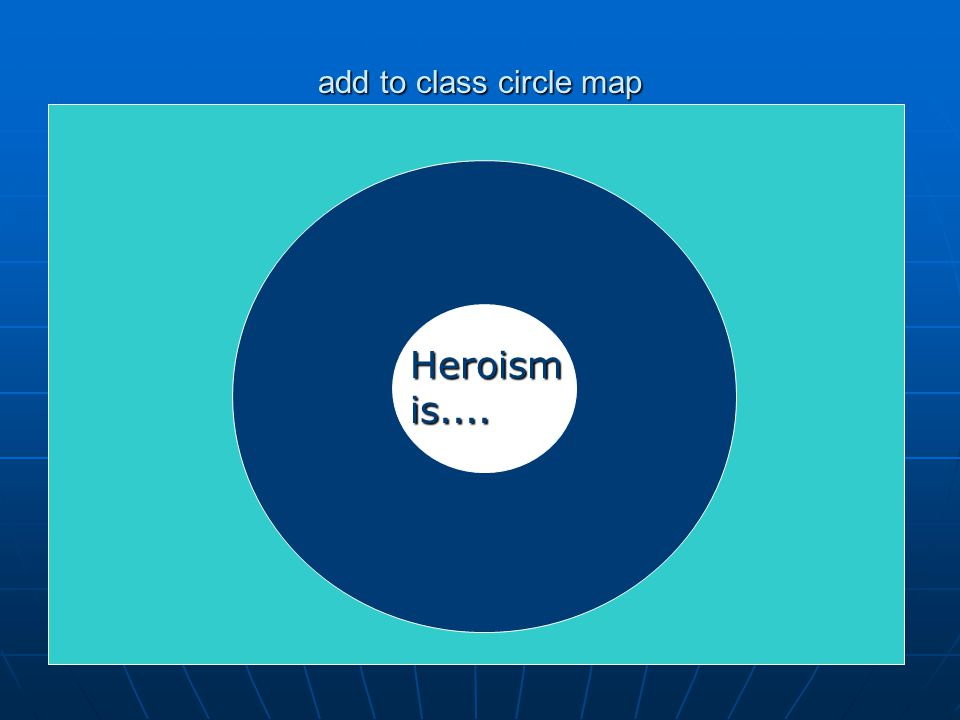 add to class circle map Heroism is....