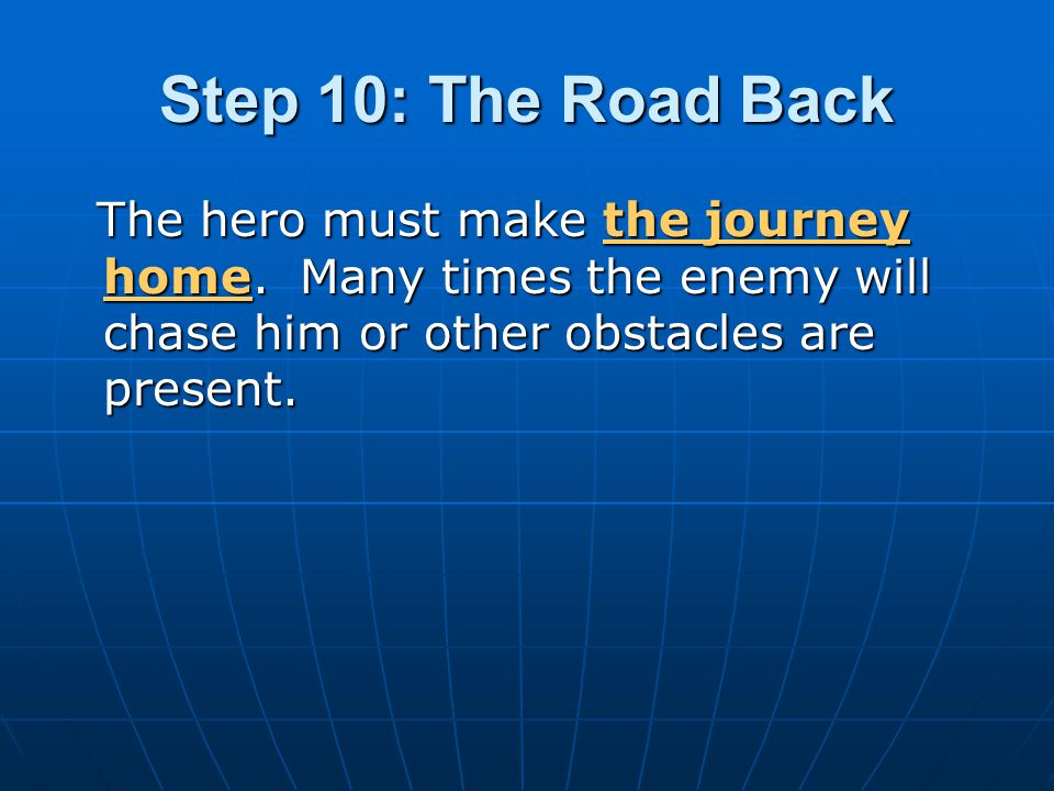 Step 10: The Road Back The hero must make the journey home.