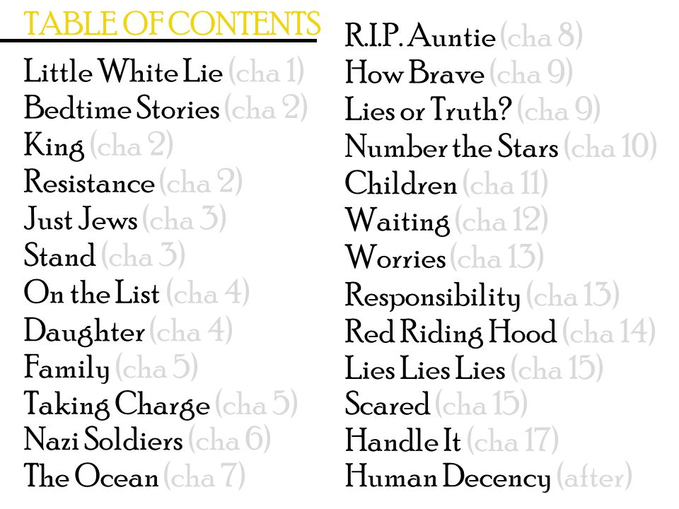 TABLE OF CONTENTS R.I.P. Auntie (cha 8) Little White Lie (cha 1) How Brave (cha 9) Bedtime Stories (cha 2)