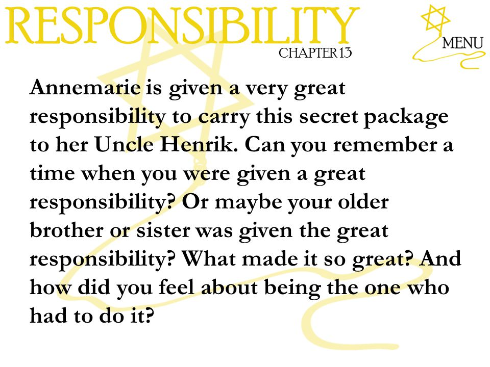 RESPONSIBILITY CHAPTER 13.