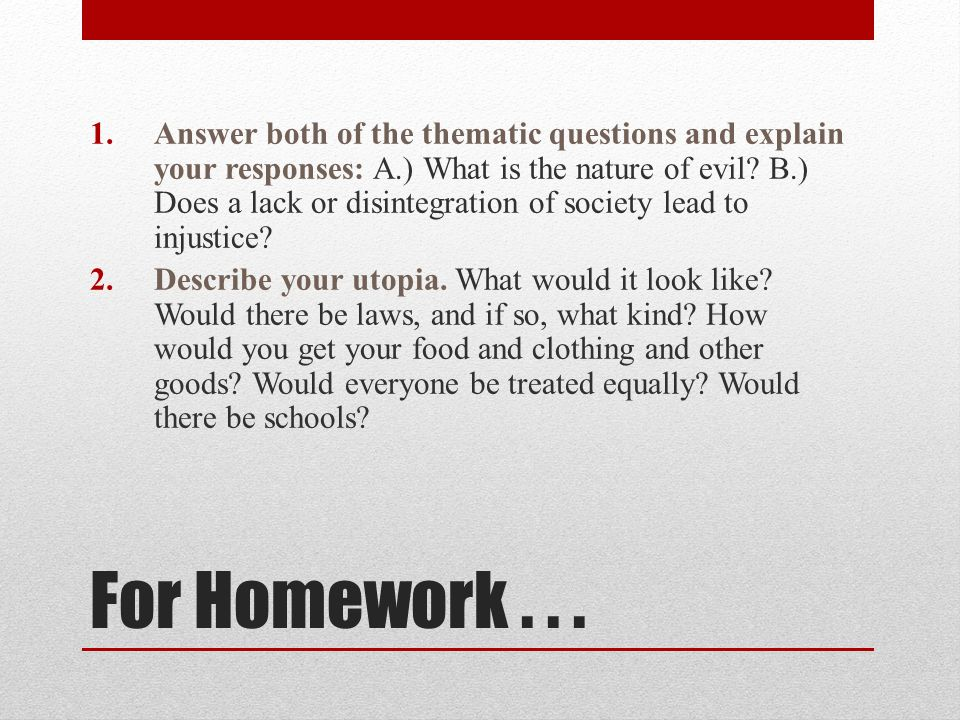 Answer both of the thematic questions and explain your responses: A