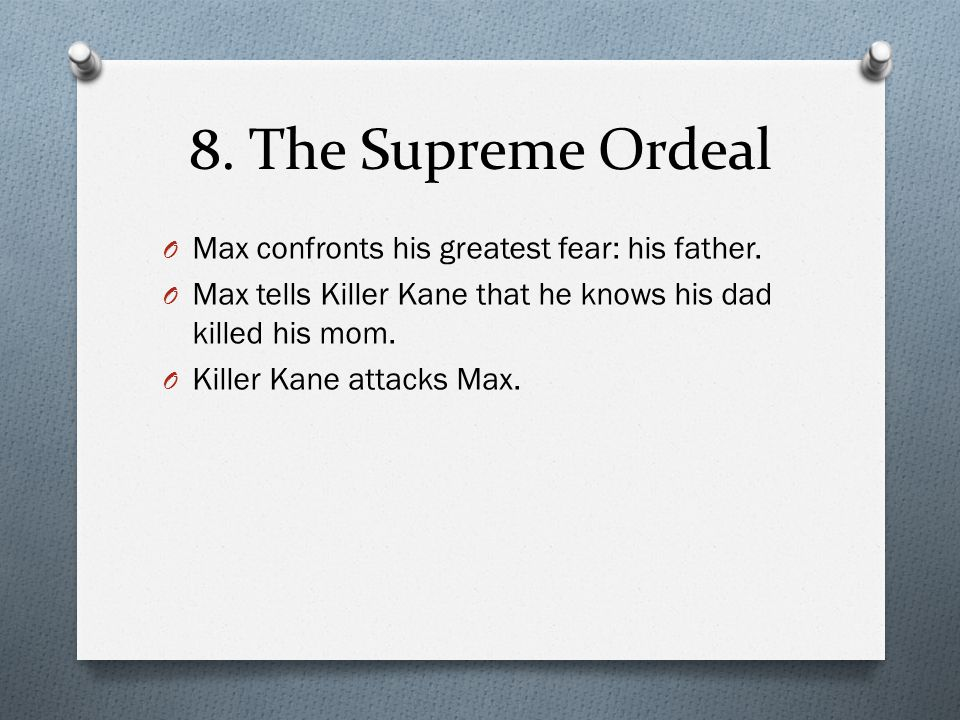 8. The Supreme Ordeal Max confronts his greatest fear: his father.