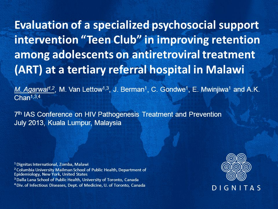 Evaluation of a specialized psychosocial support intervention Teen Club in improving retention among adolescents on antiretroviral treatment (ART) at a tertiary referral hospital in Malawi