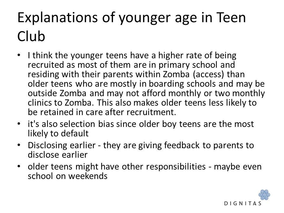 Explanations of younger age in Teen Club