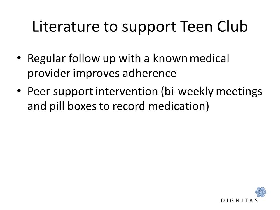 Literature to support Teen Club
