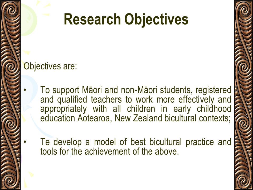 Research Objectives Objectives are: