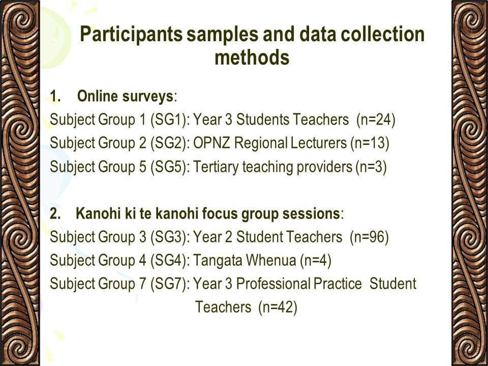 Participants samples and data collection methods
