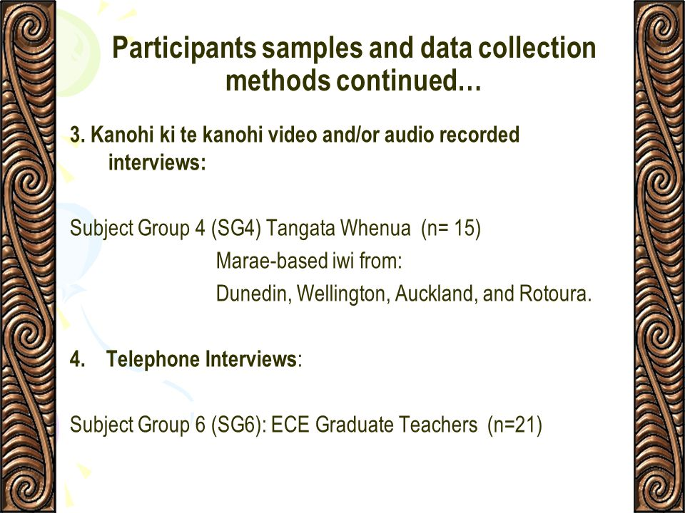 Participants samples and data collection methods continued…