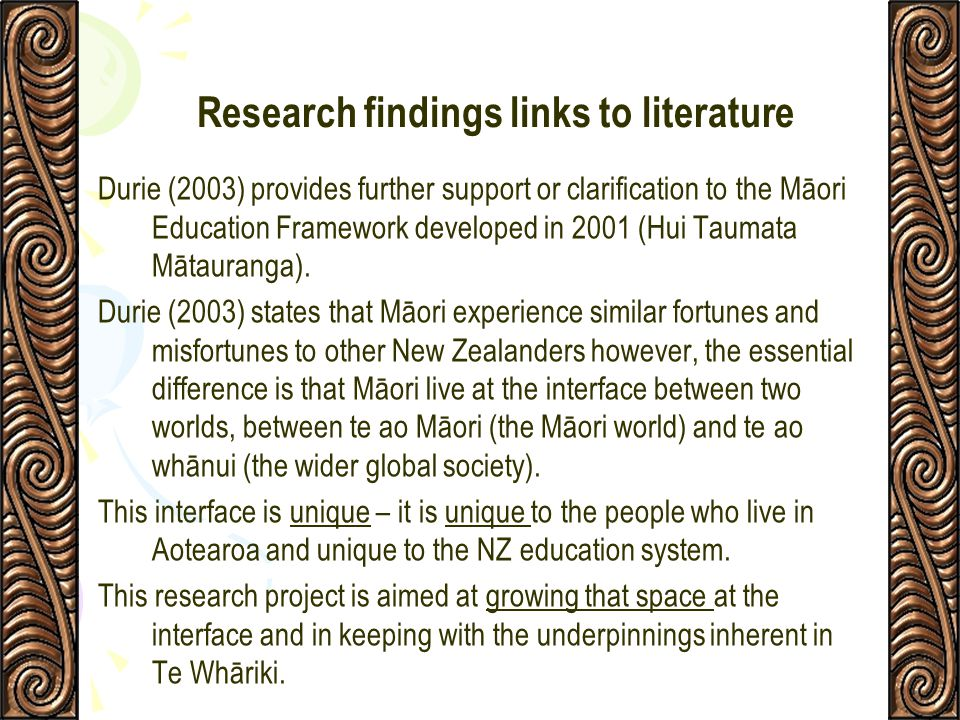 Research findings links to literature