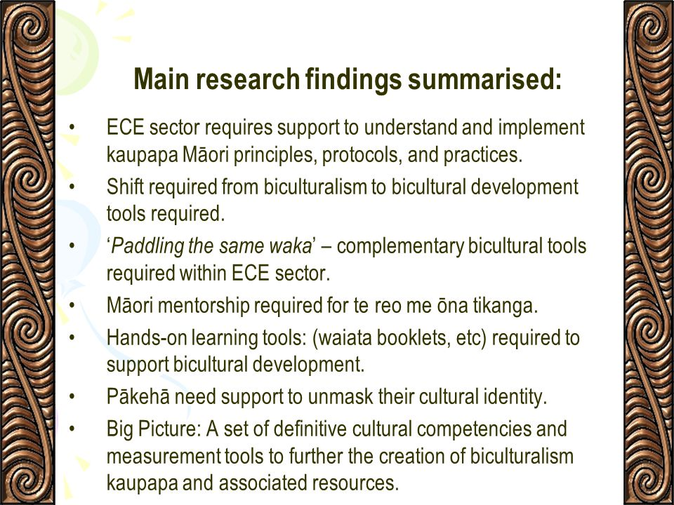 Main research findings summarised: