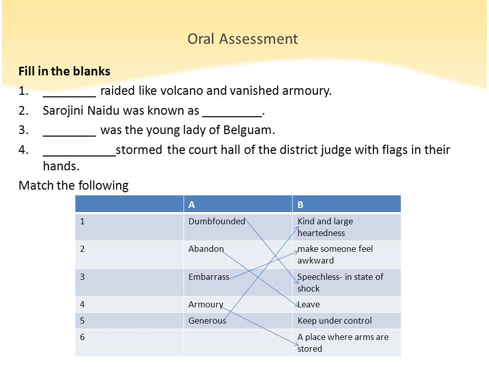 Oral Assessment Fill in the blanks