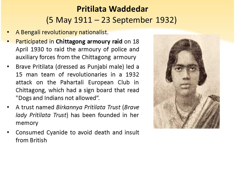 Pritilata Waddedar (5 May 1911 – 23 September 1932)
