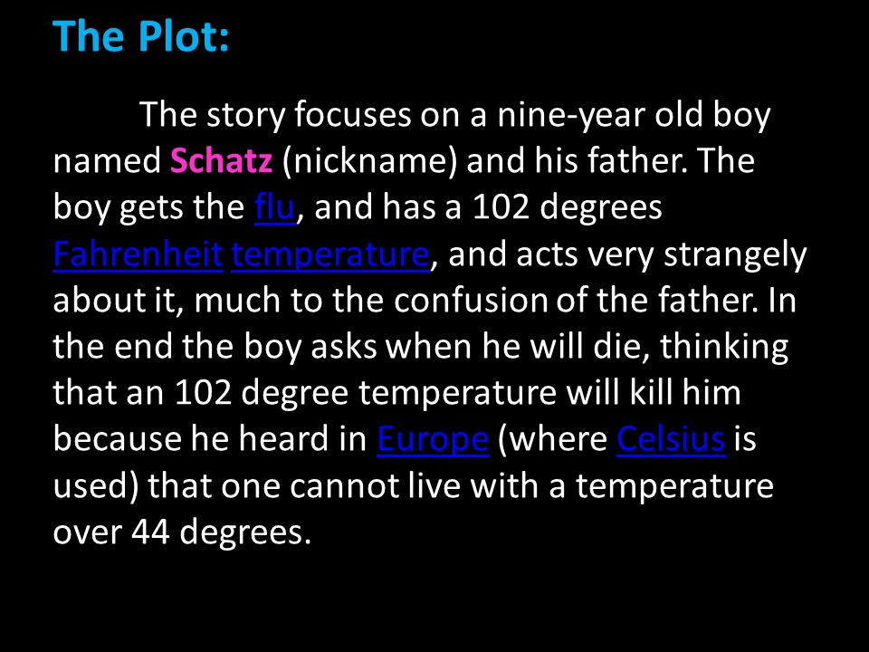 The Plot: The story focuses on a nine-year old boy named Schatz (nickname) and his father.