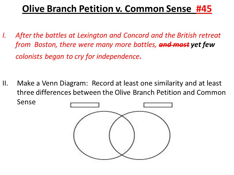Olive Branch Petition v. Common Sense #45