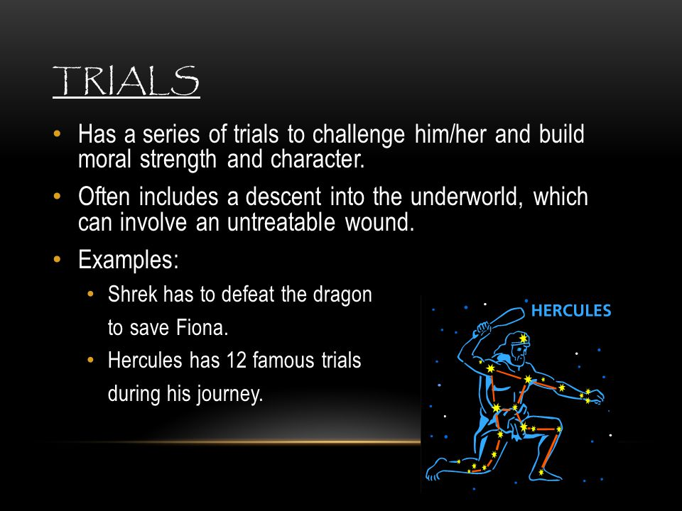 Trials Has a series of trials to challenge him/her and build moral strength and character.