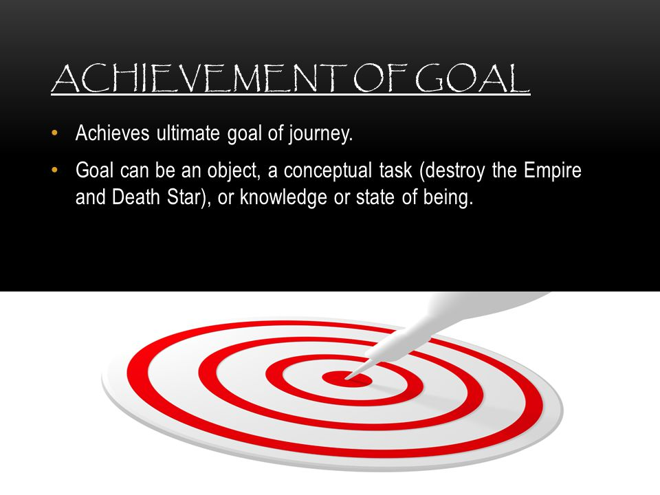 Achievement of Goal Achieves ultimate goal of journey.