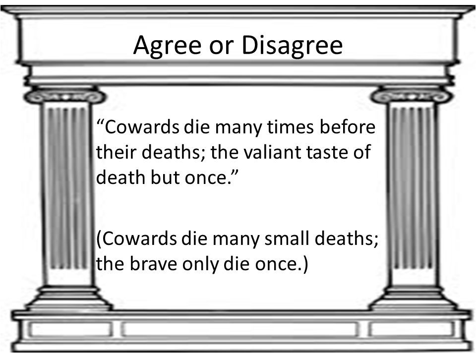 Agree or Disagree Cowards die many times before their deaths; the valiant taste of death but once.