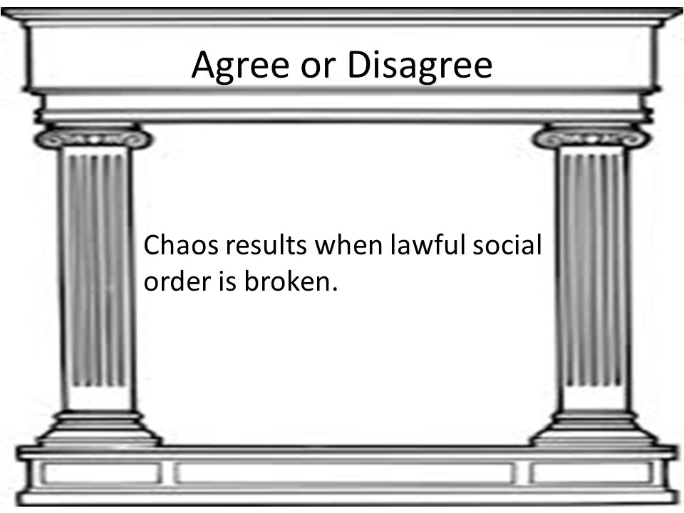 Agree or Disagree Chaos results when lawful social order is broken.