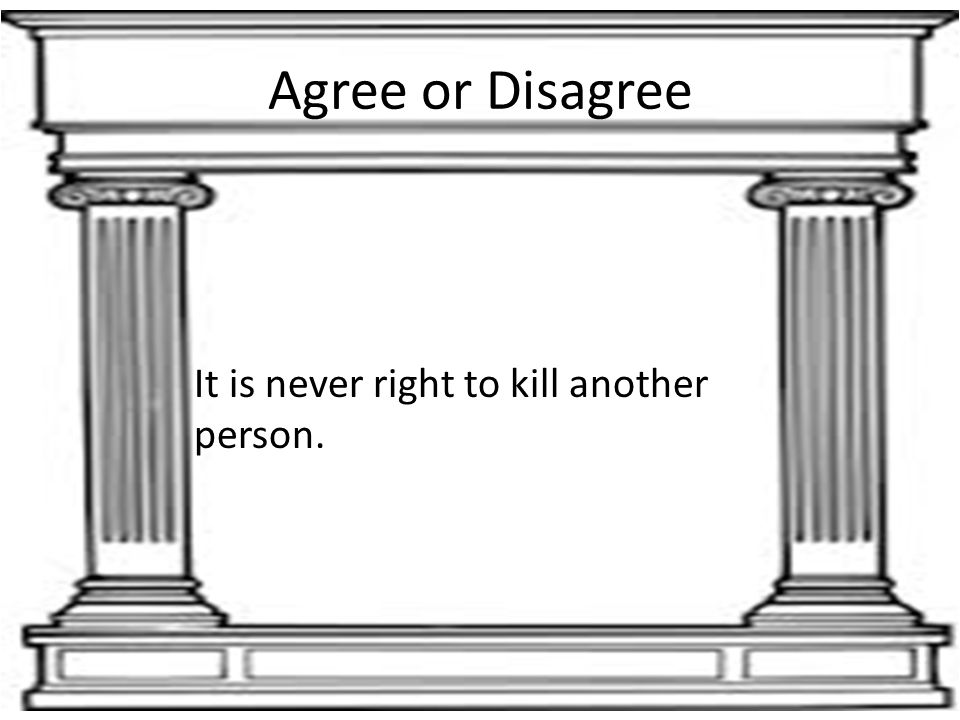 Agree or Disagree It is never right to kill another person.