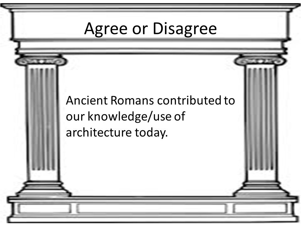 Agree or Disagree Ancient Romans contributed to our knowledge/use of architecture today.