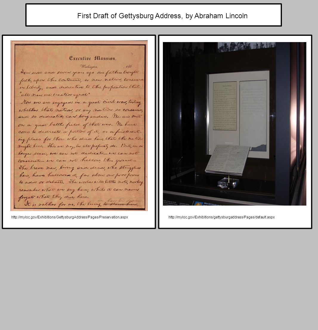 First Draft of Gettysburg Address, by Abraham Lincoln