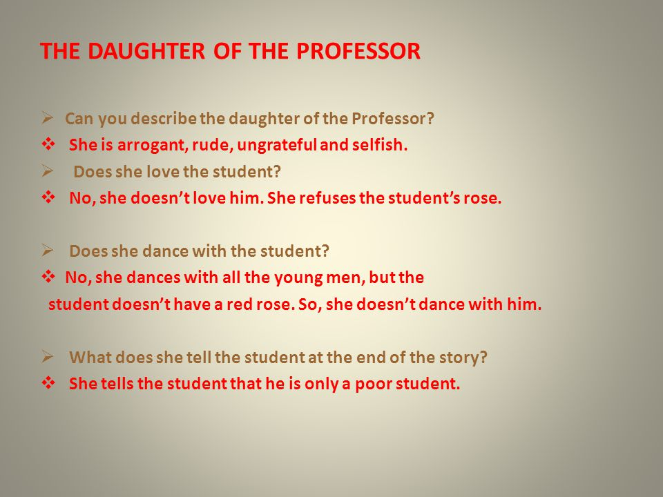 THE DAUGHTER OF THE PROFESSOR