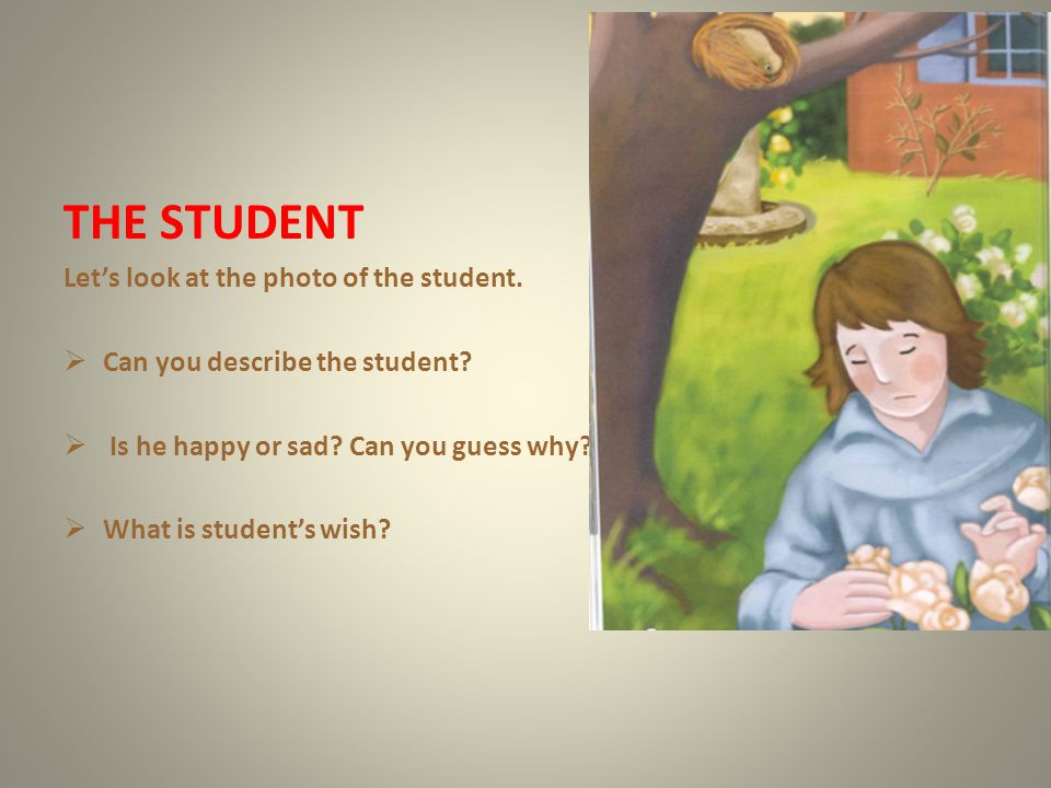 THE STUDENT Let's look at the photo of the student.
