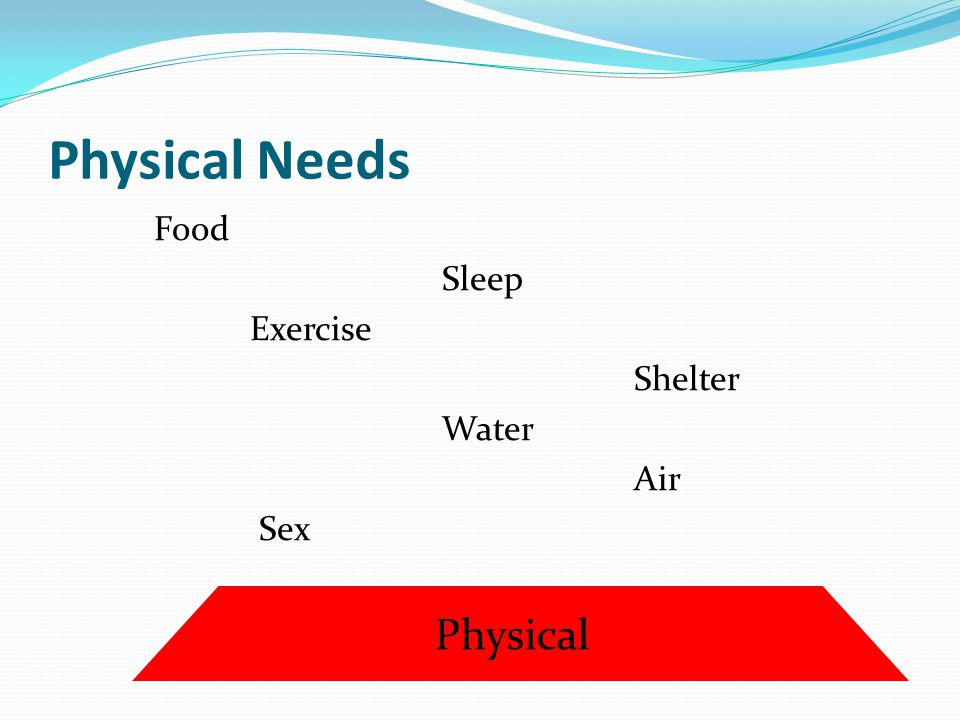 Physical Needs Physical Food Sleep Exercise Shelter Water Air Sex