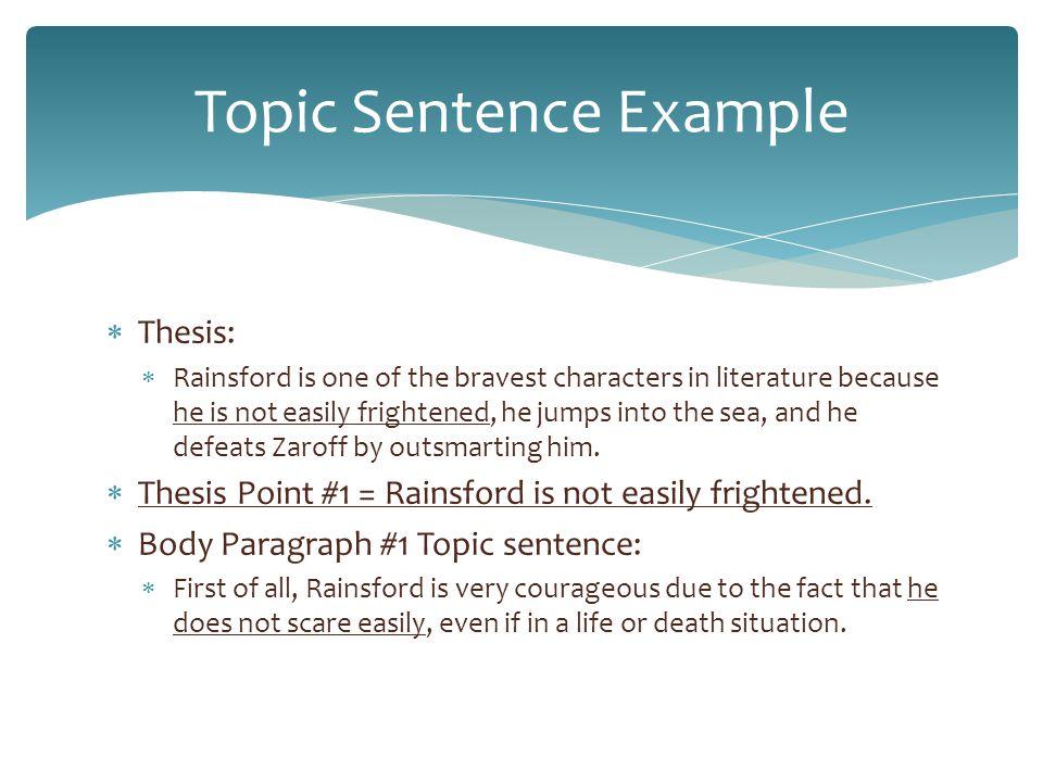 Topic Sentence Example