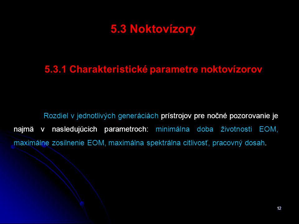 5.3.1 Charakteristické parametre noktovízorov